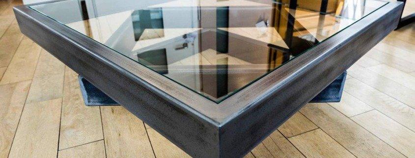 Table basse acier verrre Nantes métallerie