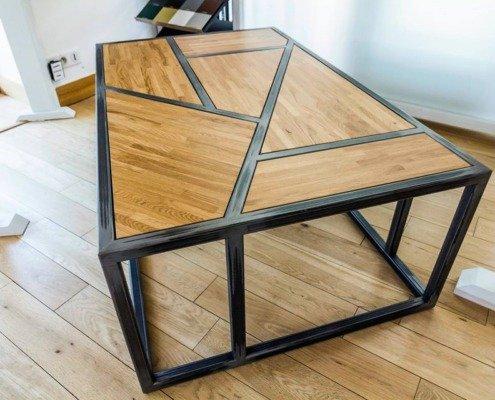 Table basse acier bois Nantes métallerie