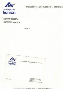 Carte de visite entreprise menuiserie Hamon